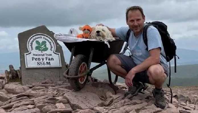 O cara deu ao seu animal de estimação doente uma última caminhada ao longo de sua rota favorita
